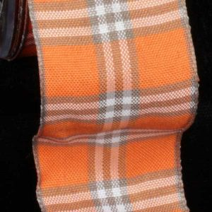 ORANGE FINE PLAID RIBBON WIRE EDGE