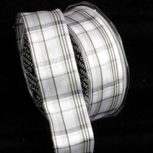 White Canterbury Plaid Ribbon
