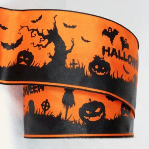 Halloween Scene Ribbon Wire Edge