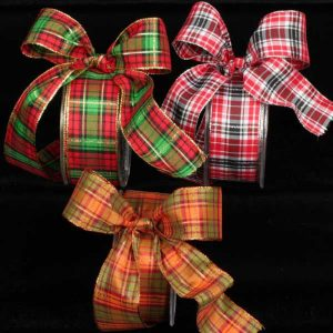 Wired Metallic Edge Plaid Ribbon