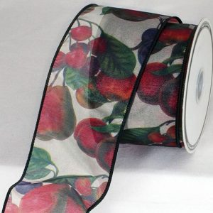 Semi Sheer Holiday Fruit Ribbon