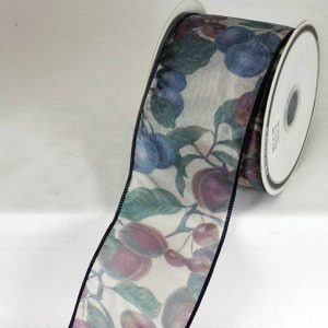 NAVY SHEER FRUIT RIBBON