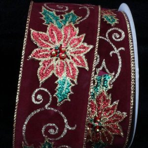 BURGUNDY VELVET POINSETTIA RIBBON