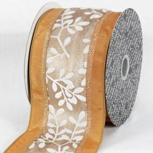 IVORY Taffeta Wired Velvet Leaves Ribbon