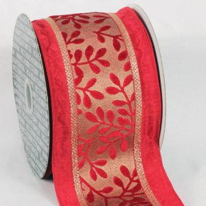 red Taffeta Wired red Velvet Leaves Ribbon