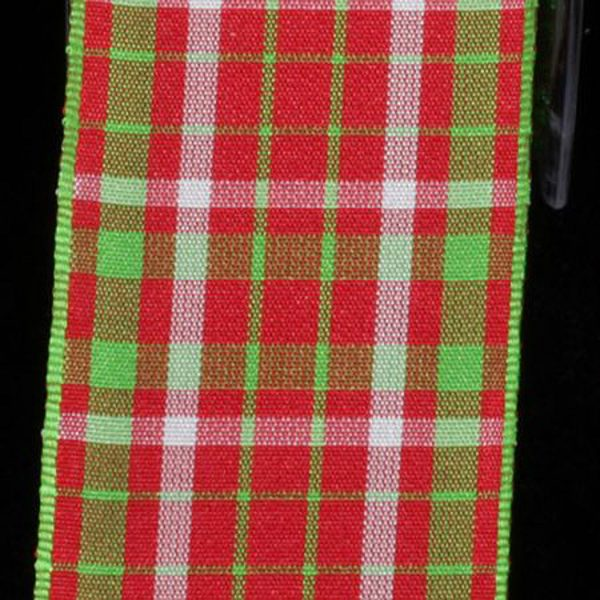 RED AND GREEN TAFFETA RIBBON
