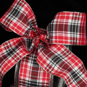 RED WHITE BLACK PLAID