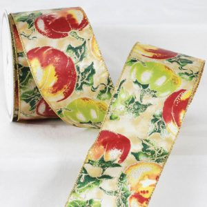 "3"" HOLIDAY FRUITS RIBBON"