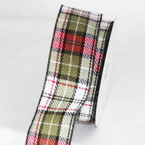 "2 1/2"" PLAID RIBBON WIRE EDGE"