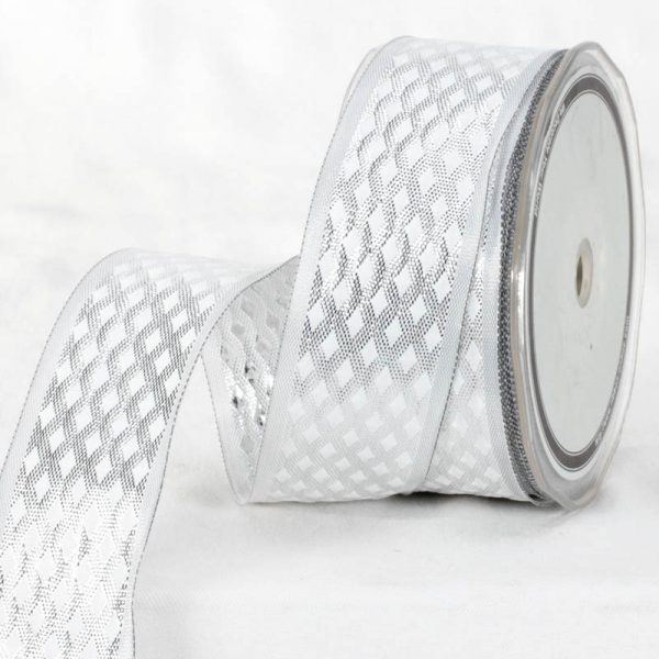 WHITE AND SILVER BABYLON RIBBON