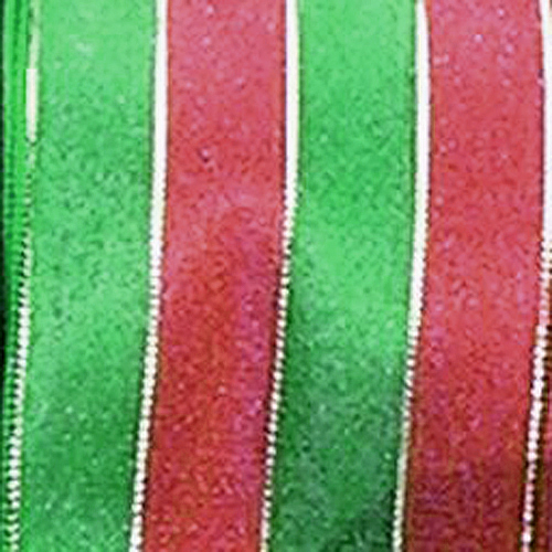 red and green French Wire Gold Pin Stripe Ribbon