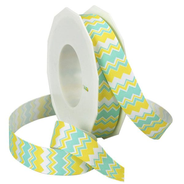 aqua and daffodial chevron