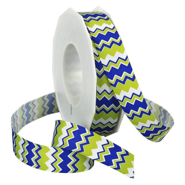 ELECTRIC BLUE AND LIME GROSGRAIN
