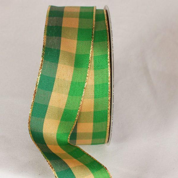 green and gold Holiday Check Ribbon
